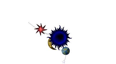 Móbil de berce con lúa, sol e estrela