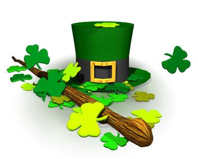sombreiro e shamrocks de San Patrick